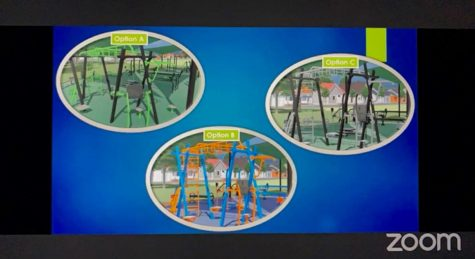 Three ovals depicting the proposed fitness center, each with a different color scheme. One is black and green, another is orange and blue and the third is black and gray.