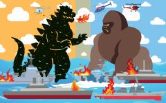 Illustration of Godzilla fighting King Kong
