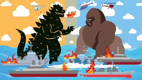 Illustration of Godzilla fighting King Kong