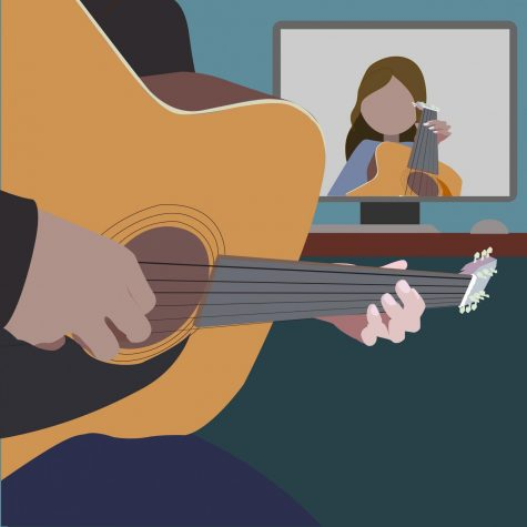 Illustration of person playing guitar