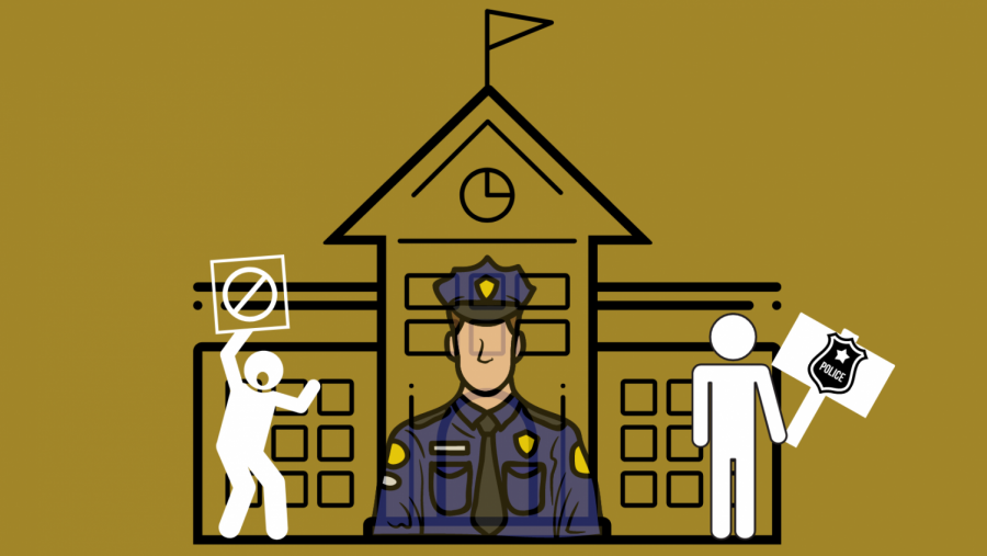 illustration of a school with police officers and people protesting