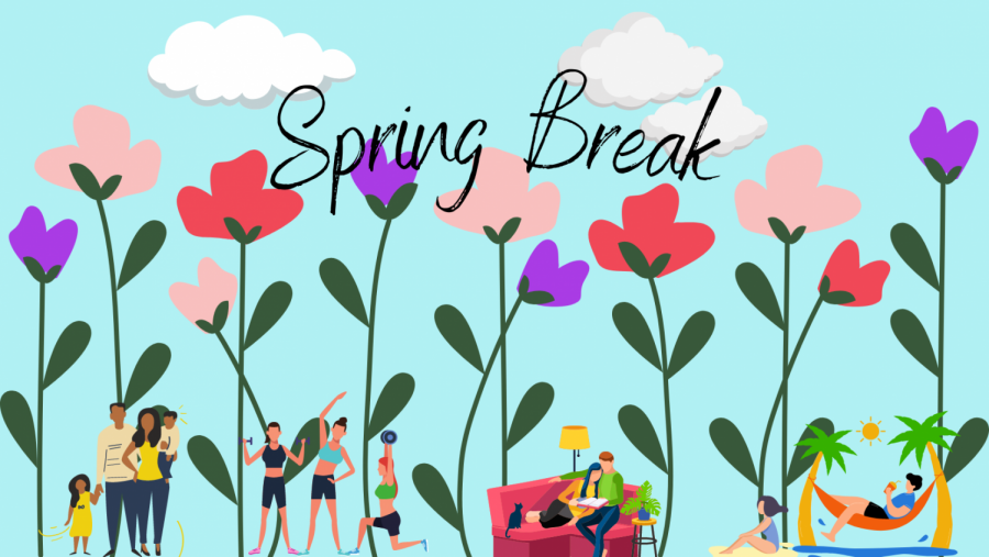 Illustration of a blue sky, and flowers, and illustrated characters working out and relaxing.