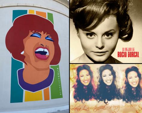Collage de Celia Cruz, Selena Quintanilla, y Rocio Durcal.