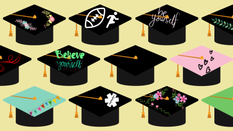 Illustration of decorated graduation caps