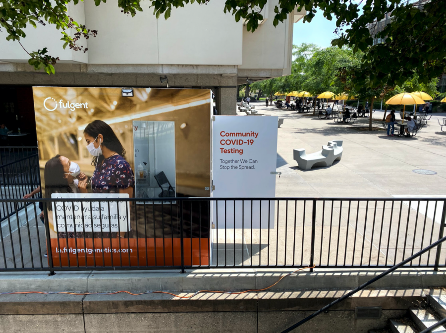 Picture shows the Cal State L.A COVID-19 testing site. One of two testing sites the one picture is located on the Main Walkway, near the University bookstore and the Library North.