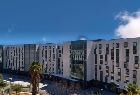 Image shows Cal State LA dorms.