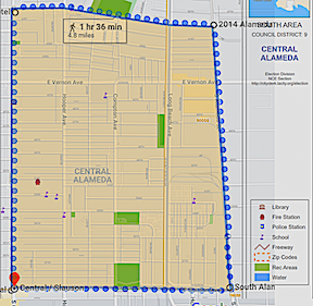 A Central Alameda Neighborhood Council map layered over a Google Map, courtesy of the city of Los Angeles and Google Maps.