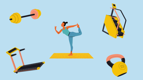 Illustration shows a woman standing on one leg stretching, and work out equipments like treadmills and weights are also illustrated.
